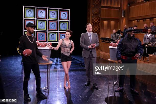 Musical guest Big Sean actress Kristen Stewart host Jimmy Fallon and Tariq Black Thought Trotter of The Roots play facebreakers on February 2 2017