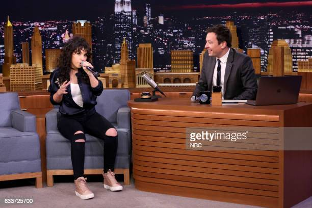 Singer Alessia Cara and host Jimmy Fallon play 'Wheel of Musical Impressions' on February 3 2017