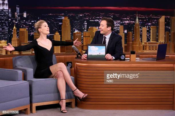 Actress Rosamund Pike during an interview with host Jimmy Fallon on February 7 2017