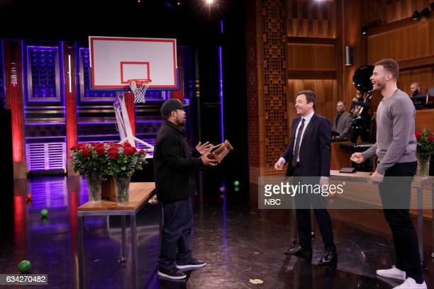 Rapper Ice Cube host Jimmy Fallon and professional basketball player Blake Griffin play random objects shootout on February 7 2017
