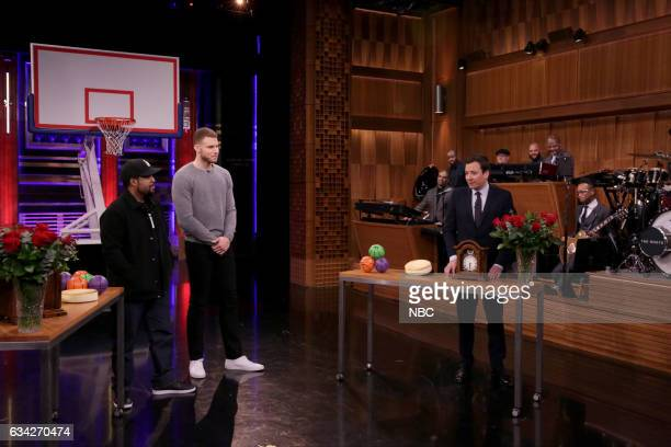 Rapper Ice Cube professional basketball player Blake Griffin and host Jimmy Fallon play random objects shootout on February 7 2017