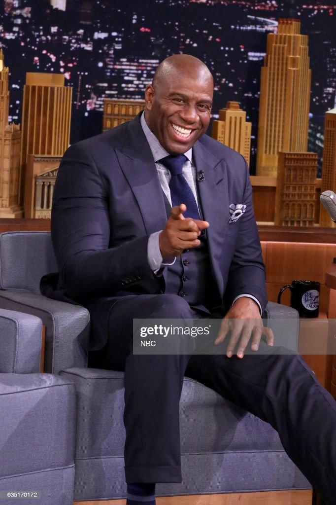 Former professional basketball player Magic Johnson on February 13, 2017 --