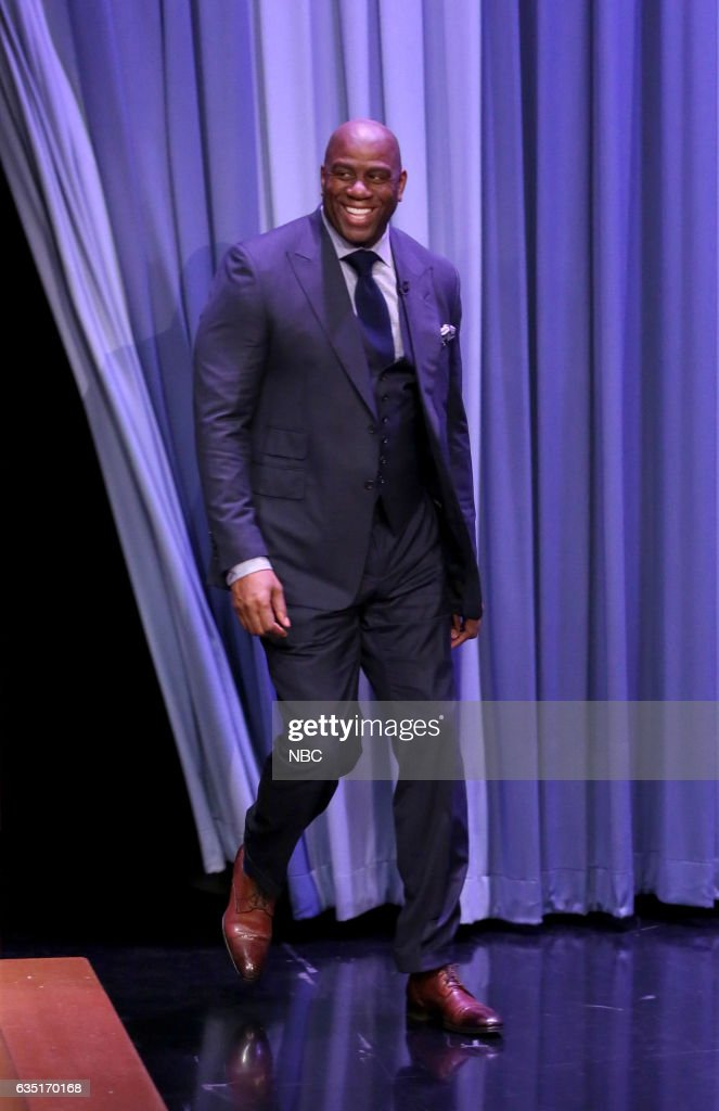 "NBC's ""The Tonight Show Starring Jimmy Fallon"" with guests Magic Johnson, Luke Wilson, Roy Wood Jr."