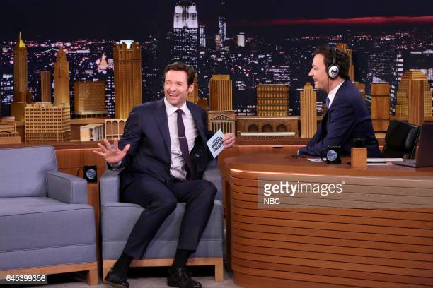 Actor Hugh Jackman during an interview with host Jimmy Fallon on February 24 2017
