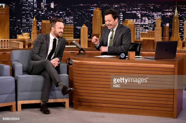 Actor Aaron Paul during an interview with host Jimmy Fallon on February 27 2017