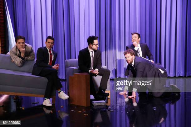 Actor Henry Shields actor Jonathan Sayer director JJ Abrams actor Henry Lewis and host Jimmy Fallon during 'The Interview That Goes Wrong' on March...