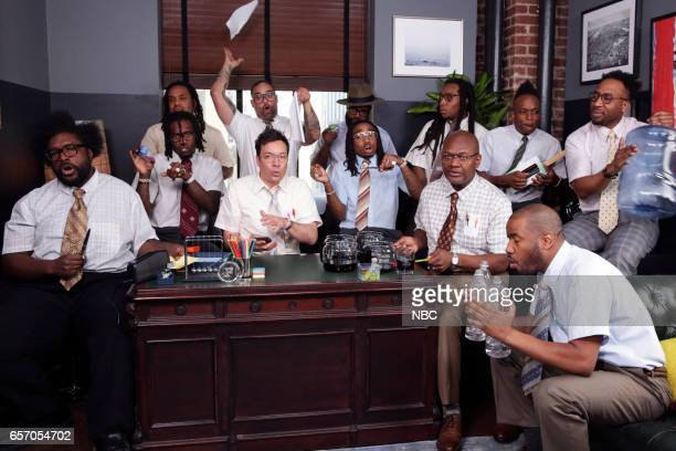 The Roots musical guest Migos and host Jimmy Fallon perform 'Bad and Boujee' with Office Instruments on March 23 2017