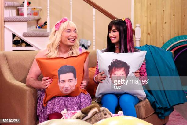 Host Jimmy Fallon as Sara and singer Demi Lovato during Ew on March 27 2017