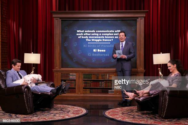 Actor Andrew Rannells host Jimmy Fallon and actress Katie Holmes during 'Pup Quiz' on March 29 2017