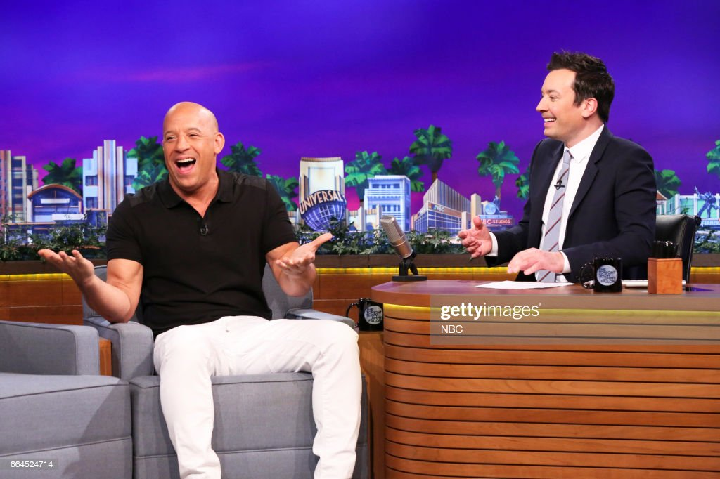 Actor Vin Diesel during an interview with host Jimmy Fallon on April 3, 2017 --