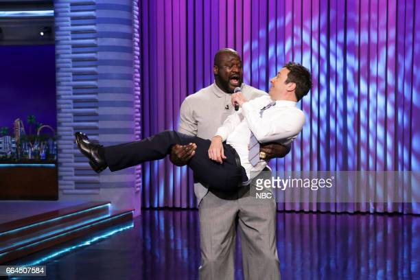 Basketball player Shaquille O'Neal and host Jimmy Fallon during Lip Sync Battle on April 3 2017