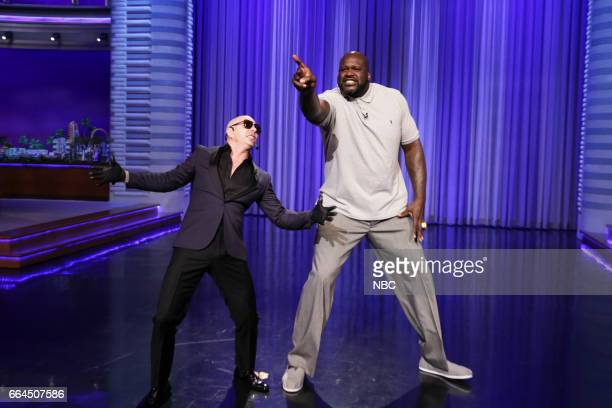 Musical guest Pitbull and basketball player Shaquille O'Neal during Lip Sync Battle on April 3 2017