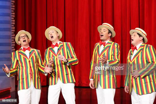 AD Miles Tom Shillue host Jimmy Fallon and Chris Tartaro perform as the Ragtime Gals on April 4 2017