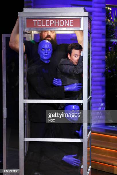 Blue Man Group WWE Superstar Big Show and host Jimmy Fallon during 'Phone Booth' on April 5 2017