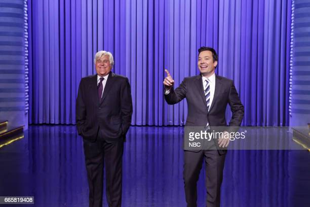 Episode 0654 -- Pictured: Comedian Jay Leno and host Jimmy Fallon during the monologue on April 6, 2017 --