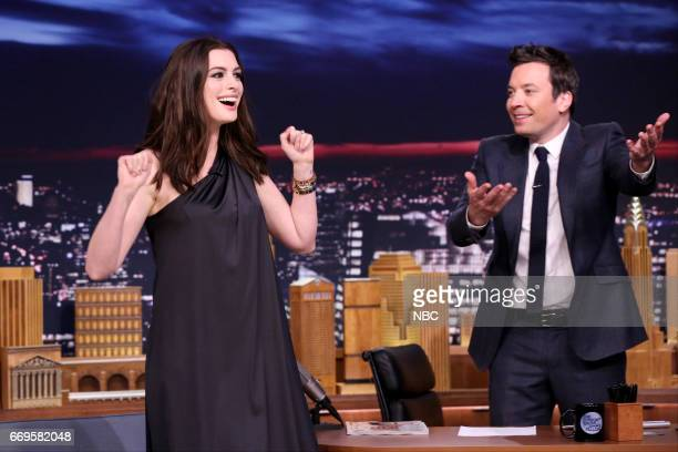 Actress Anne Hathaway arrives and host Jimmy Fallon on April 17 2017