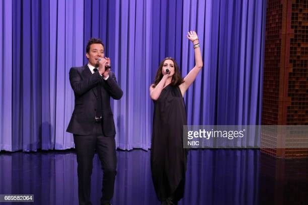 Host Jimmy Fallon and actress Anne Hathaway play 'Google Translate Songs' on April 17 2017