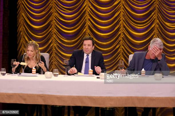 Actress Sienna Miller host Jimmy Fallon and author/chef Anthony Bourdain during the 'Secret Ingredient' game on April 19 2017