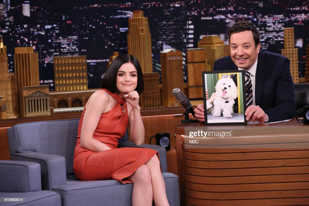 Actress Lucy Hill during an interview with host Jimmy Fallon on April 20, 2017 --
