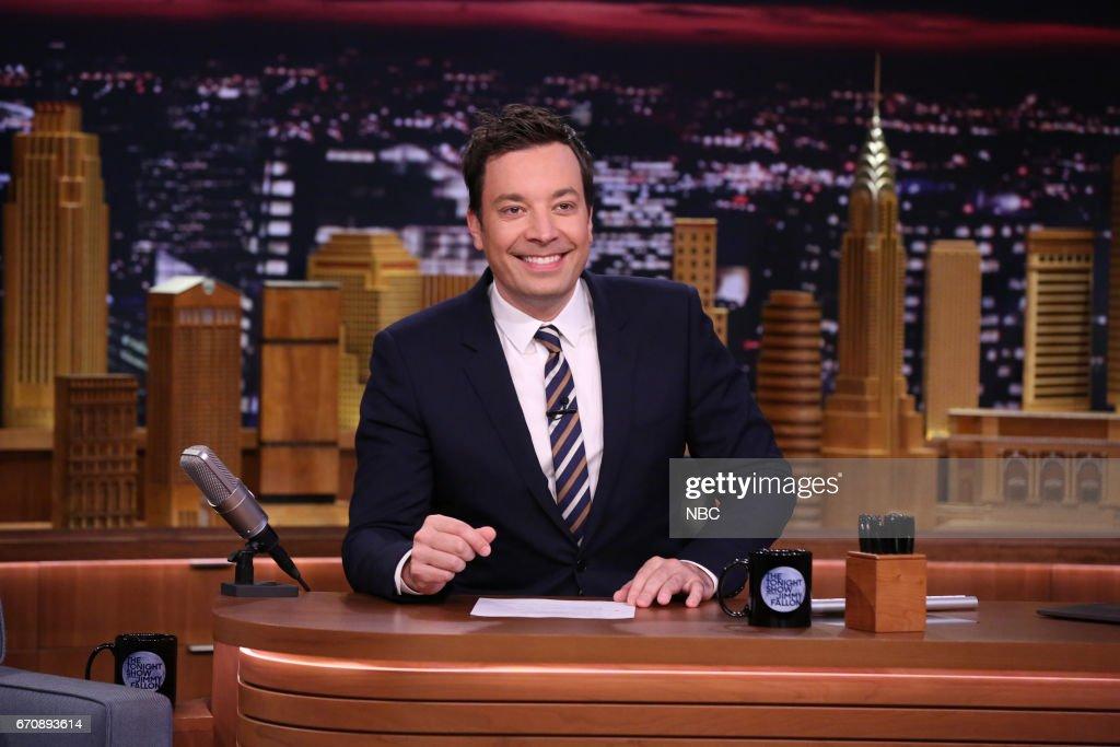 Host Jimmy Fallon at his desk on April 20, 2017 --