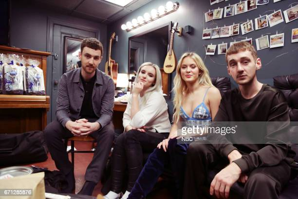 Jack Patterson Grace Chatton from 'Clean Bandit' with Zara Larsson and Luke Patterson from 'Clean Bandit' on April 21 2017