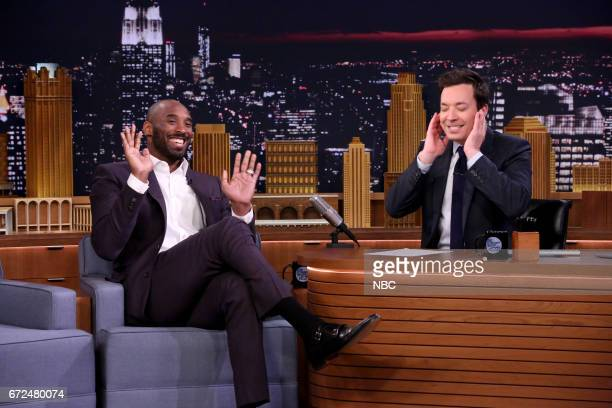 Athlete Kobe Bryant with host Jimmy Fallon during an interview on April 24 2017