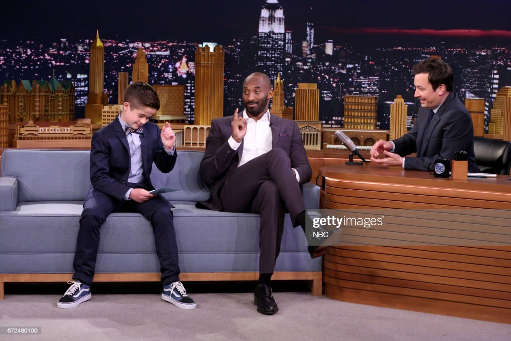 'Sports Illustrated Kids' Reporter Max Bonnstetter, athlete Kobe Bryant, and host Jimmy Fallon during interview on April 24, 2017 --