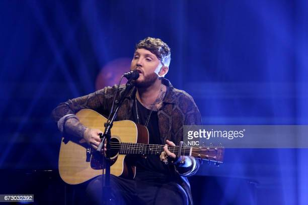 """Episode 0661 -- Pictured: Musical Guest James Arthur performs """"Say You Won't Let Go"""" on April 25, 2017 --"""