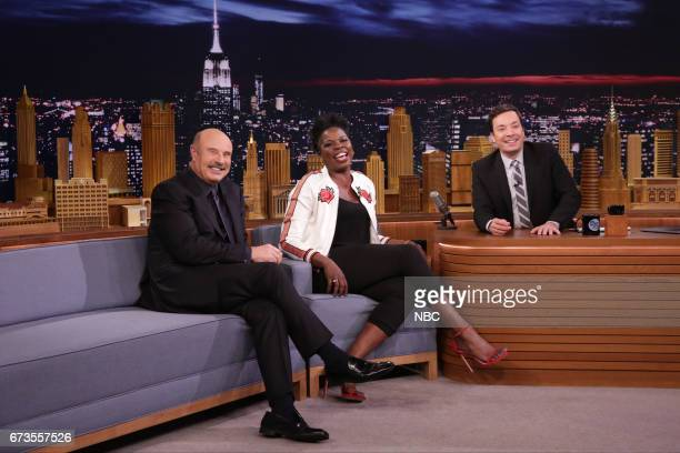 Talk Show Host Dr Phil comedian Leslie Jones and host Jimmy Fallon during an interview on April 26 2017