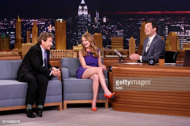 Comedian Martin Short actress Britt Robertson with host Jimmy Fallon during an interview on April 28 2017
