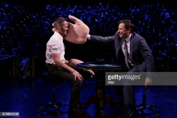 Actor Chris Pine and host Jimmy Fallon play 'Slapjack' on May 4 2017