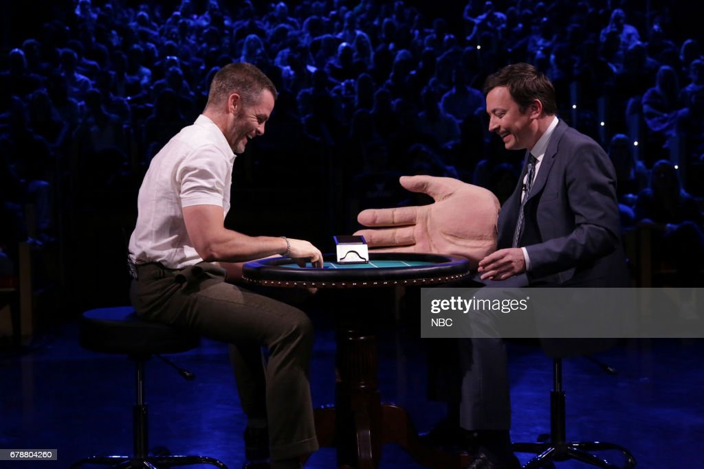 Actor Chris Pine and host Jimmy Fallon play 'Slapjack' on May 4, 2017 --