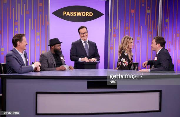 Actor Kyle MacLachlan musician Tariq Black Thought Trotter announcer Steve Higgins actress Michelle Pfeiffer and host Jimmy Fallon play 'Password' on...