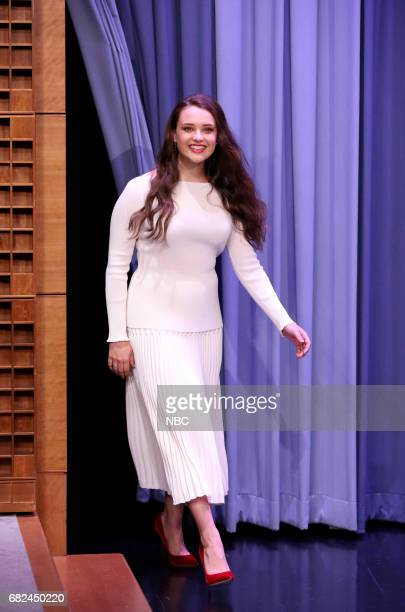 Actress Katherine Langford arrives for an interview on May 12 2017