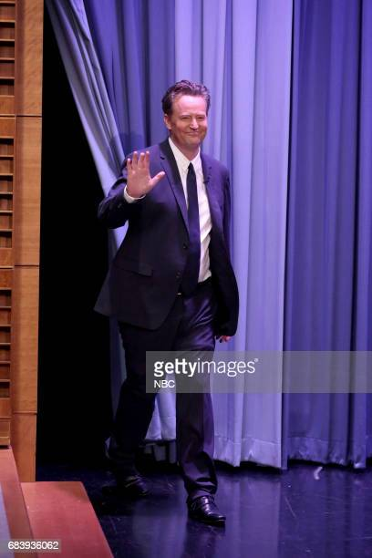 Actor Matthew Perry arrives for an interview with host Jimmy Fallon on May 16 2017