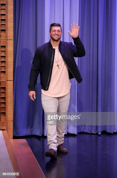 Athlete Tim Tebow arrives for an interview on May 17 2017