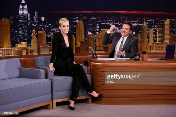 Singersongwriter Katy Perry during interview with host Jimmy Fallon on May 19 2017