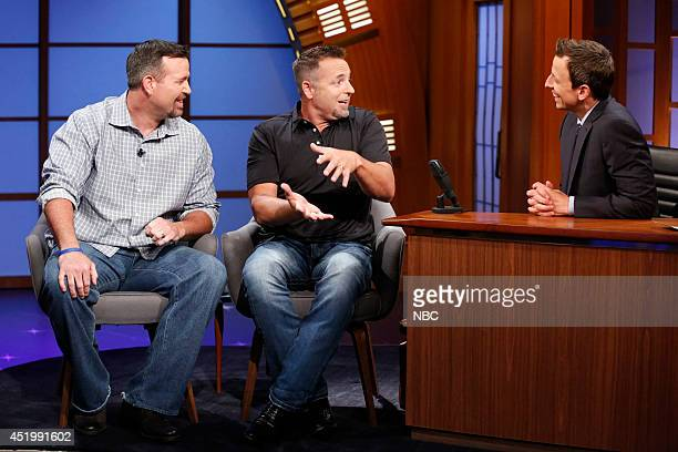 The MLB Network's Sean Casey and Kevin Millar during an interview with Seth Meyers on July 10 2014