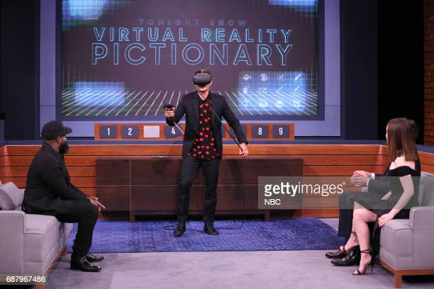 Tariq Black Thought Trotter actor Orlando Bloom host Jimmy Fallon and actor Zoe ListerJones during Virtual Reality Pictionary on May 24 2017
