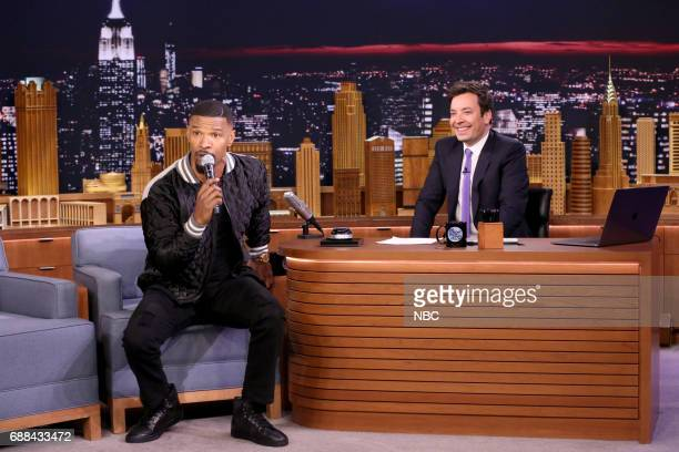 Actor Jamie Foxx with host Jimmy Fallon during Musical Genre Challenge on May 25 2017