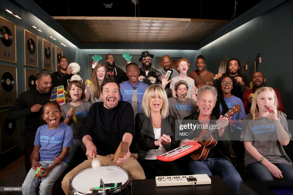 Host Jimmy Fallon with Christine McVie and Lindsey Buckingham of 'Buckingham McVie', 'The Roots', and SeriousFun Children's Network perform 'Don't Stop' with Classroom Instruments on June 12, 2017 --