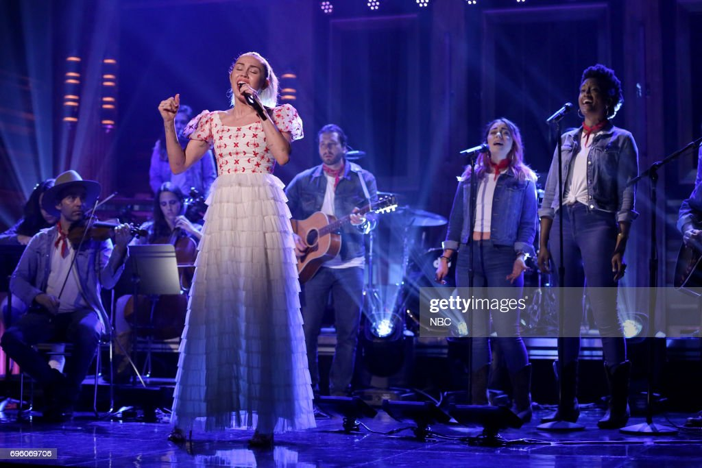Musical Guest/Co-Host Miley Cyrus performs 'Inspired' on June 14, 2017 --