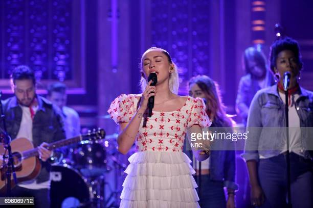 Musical Guest/CoHost Miley Cyrus performs Inspired on June 14 2017