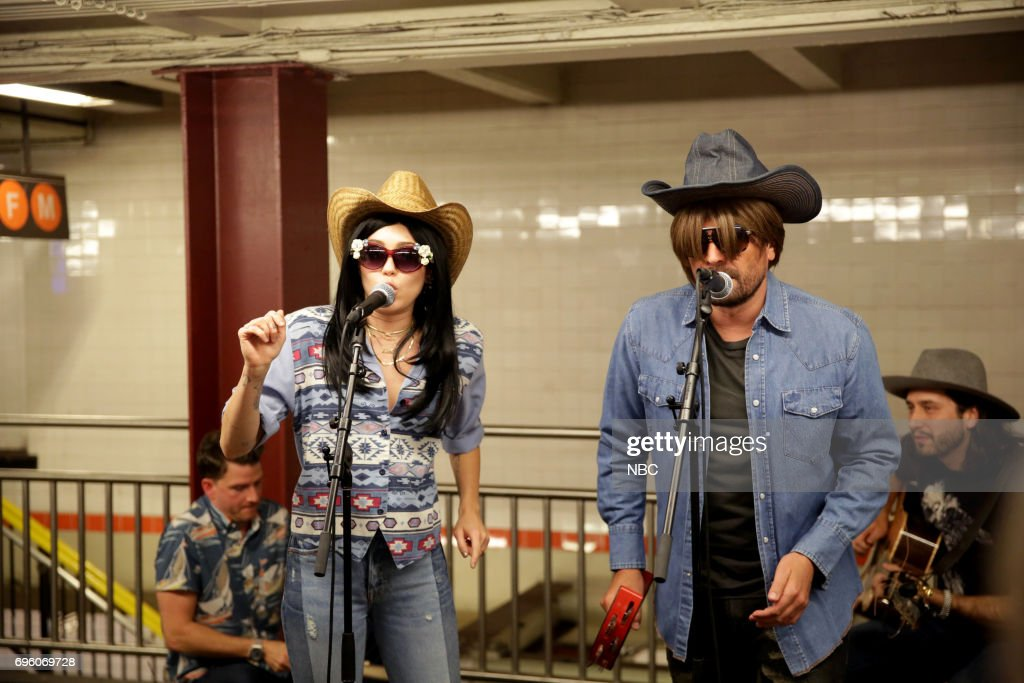 Musical Guest/Co-Host Miley Cyrus with host Jimmy Falllon 'Subway Busking' on June 13, 2017 --