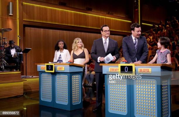 Comedian/Actor Amy Poehler announcer Steve Higgins host Jimmy Fallon with smart girls Maya Anaya during 'Are You Smarter Than a Smart Girl' on June...