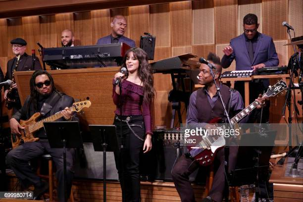 Musical Guest Camila Cabello performs with Ian HandricksonSmith Mark Kelley James Poyser Kirk Captain Kirk Douglas The Roots during the opening...