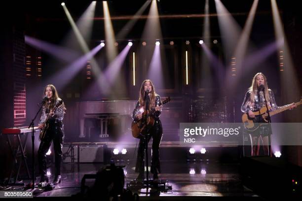 Alana Haim Danielle Haim and Este Haim of Musical Guest Haim perform 'Want You Back' on June 29 2017