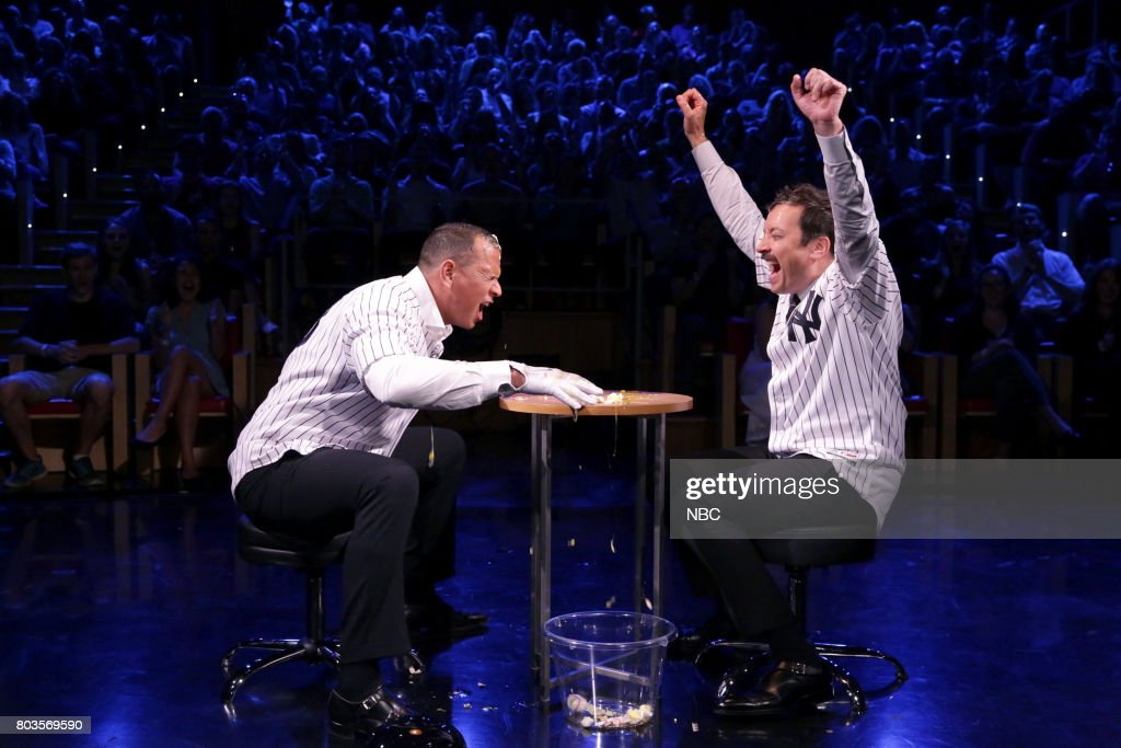 Athlete Alex Rodriguez with host Jimmy Fallon during 'Egg Russian Roulette' on June 29, 2017 --