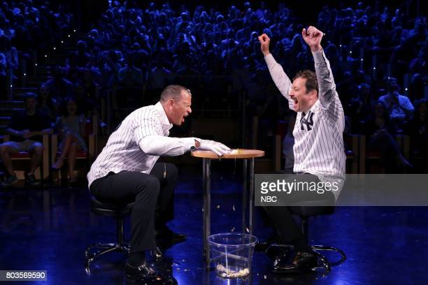 Athlete Alex Rodriguez with host Jimmy Fallon during 'Egg Russian Roulette' on June 29 2017