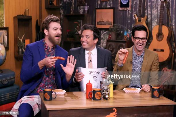 Rhett James McLaughlin and Charles Lincoln Link Neal III of Rhett Link with Host Jimmy Fallon during Will It Hot Dog on July 26 2017